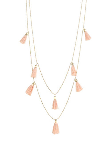 Lucky Brand Blush Tassel Necklace-GOLD-One Size