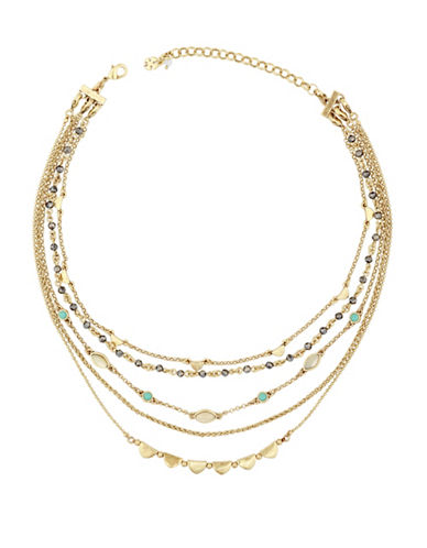 Lucky Brand Multi-Stone Layer Choker Necklace-GOLD-One Size