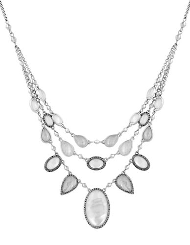 Lucky Brand Under The Influence Crystal Multi-Row Necklace-SILVER-One Size
