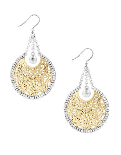 Lucky Brand Under The Influence Crystal Statement Drop Earrings-GOLD-One Size
