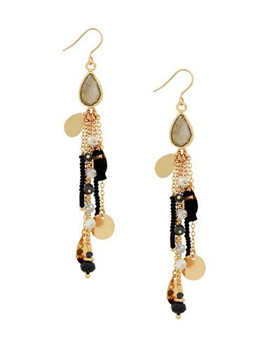 Lucky Brand Killing Me Softly Fancy Tassel Labradorite Earrings-GOLD-One Size