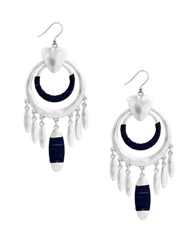 Lucky Brand Wrapped Chandelier Earrings-BLACK-One Size