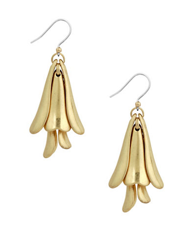 Lucky Brand Rustic Nomad Petal Drop Earrings-GOLD-One Size