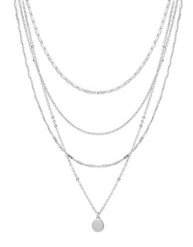 Lucky Brand Stone Multi-Strand Necklace-SILVER-One Size