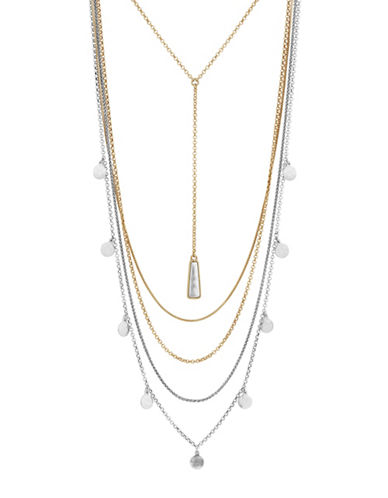 Lucky Brand Layered Stone Necklace-TWO TONE-One Size