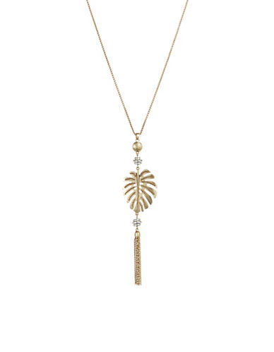 Accessories fashion jewellery two tone palm leaf pendant lucky brand two tone palm leaf pendant necklace aloadofball Image collections
