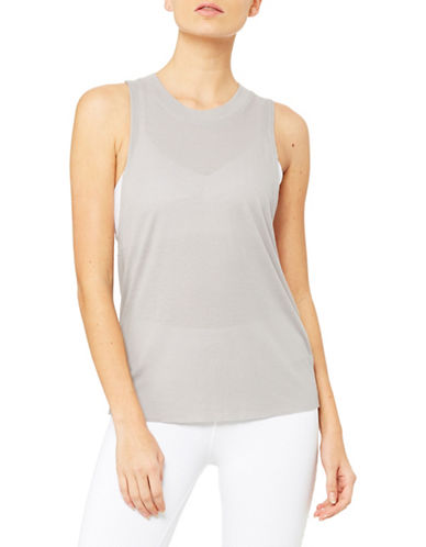 Alo Yoga Cut-Out Sleeve Tank Top-GREY-X-Small 89984508_GREY_X-Small