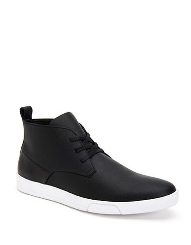 Calvin Klein Bain Textured High-Top Sneakers-BLACK-7.5