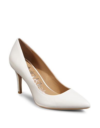 Calvin Klein Gayle Point Toe Pumps-WHITE-8.5