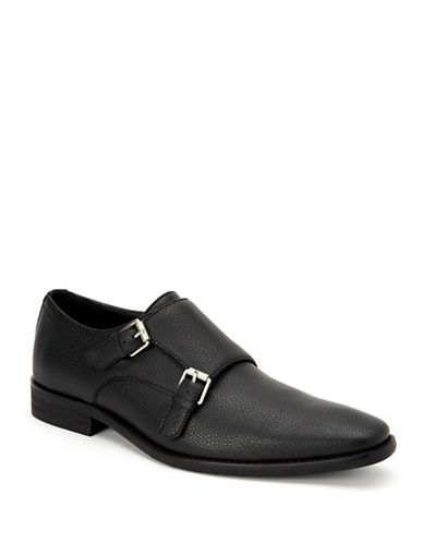 Calvin Klein Robbie Double Monk-Strap Loafers-BLACK-9.5