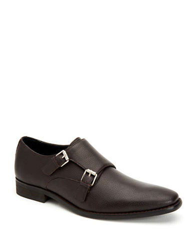 Calvin Klein Robbie Double Monk-Strap Loafers-DARK BROWN-8.5