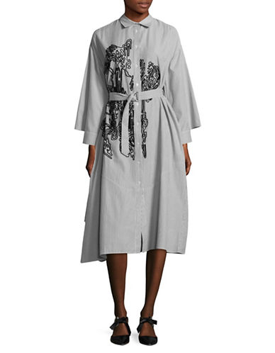 Rachel Comey Striped Shirt Dress-GREY-Large/X-Large