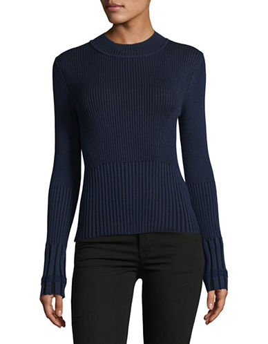 Rachel Comey Crew Neck Ribbed Knit Sweater-NAVY-X-Small