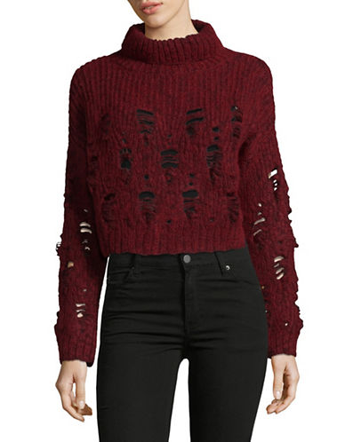 Rachel Comey Crop Turtleneck Sweater-WINE-Small