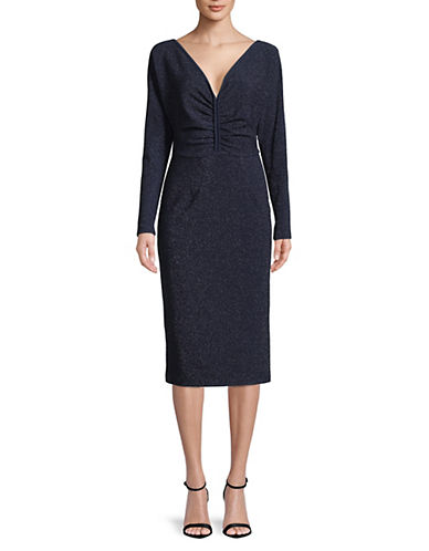 Rachel Comey Temper Ruched Midi Dress-NAVY-2