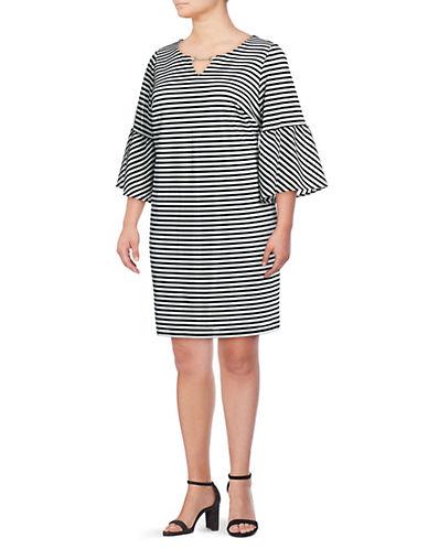 Calvin Klein Plus Striped Bell-Sleeve Dress 90055871