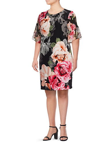 Calvin Klein Plus Floral Bell-Sleeve Dress 89998270