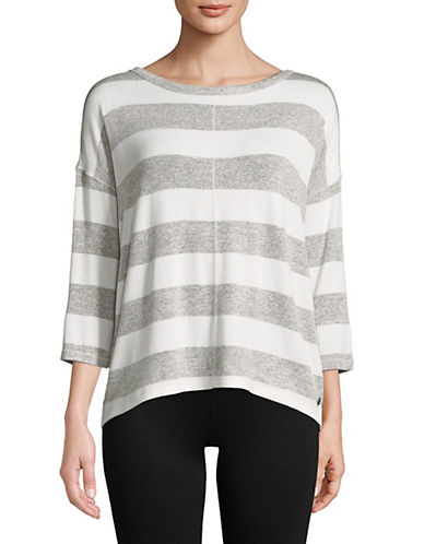 Calvin Klein Performance Striped Quarter-Sleeve Hi-Lo Pullover-GREY-Medium 90071509_GREY_Medium