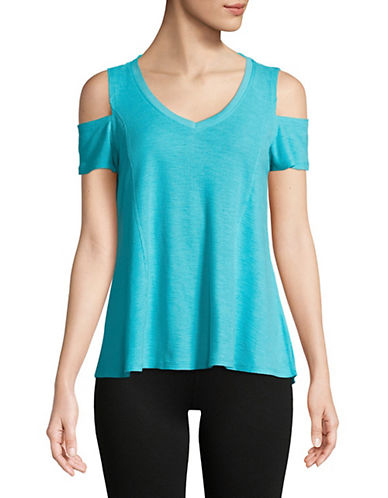 Calvin Klein Performance Cold-Shoulder V-Neck Top-BLUE-Small 90071533_BLUE_Small