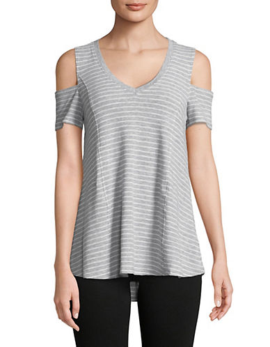 Calvin Klein Performance Striped Cold-Shoulder Top-GREY-Large 90071550_GREY_Large