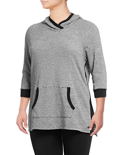 Calvin Klein Performance Plus Striped Quarter-Sleeve Hoodie-BLACK COMBO-3X 90077128_BLACK COMBO_3X