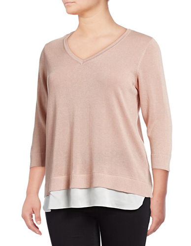 Calvin Klein Plus Layered Three-Quarter Sleeve Sweater-PINK-2X
