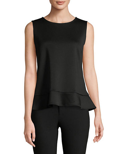 Calvin Klein Ruffled Hem Sleeveless Top-BLACK-Large 89956456_BLACK_Large