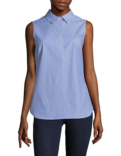 Striped Sleeveless Collared Shirt by Calvin Klein