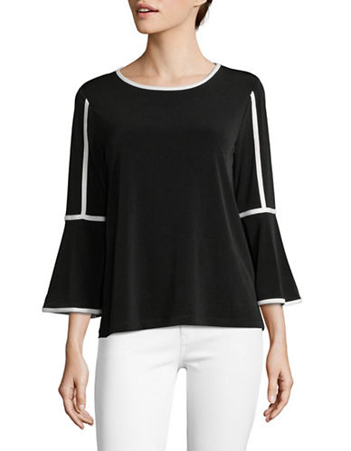 Calvin Klein Piped Bell Sleeve Top-BLACK-X-Small 89827873_BLACK_X-Small