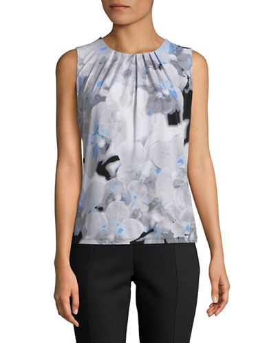 Calvin Klein Floral-Print Pleat Neck Top-GREY-Large 89905620_GREY_Large