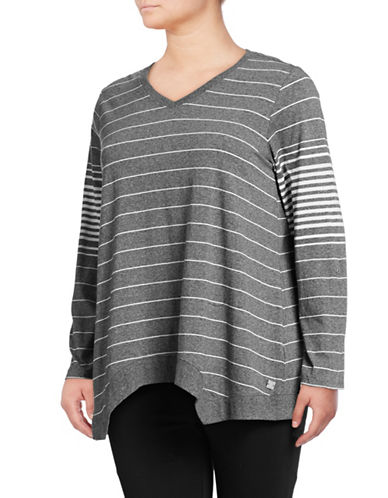 Calvin Klein Performance Plus Plus Stripe V-Neck Pullover-GREY-3X 89808770_GREY_3X