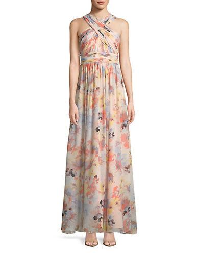 Calvin Klein Floral Cross Neck Chiffon Dress 89924756