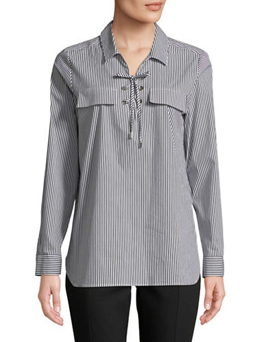 Calvin Klein Striped Lace-Up Top-BLACK/WHITE-X-Small