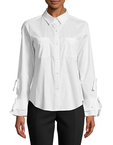 Calvin Klein Tie Sleeve Button-Down Shirt-WHITE-X-Large