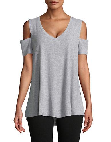 Calvin Klein Performance Cold-Shoulder V-Neck Top-GREY-X-Large 90071541_GREY_X-Large