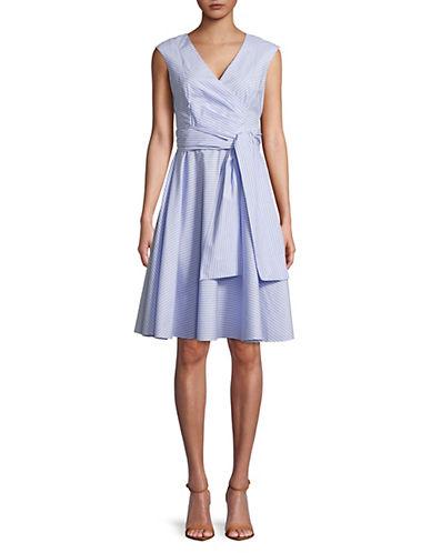 Calvin Klein Striped Cotton Wrap Dress 89925124