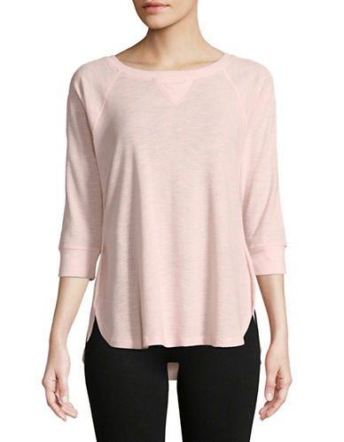 Calvin Klein Performance Cotton-Blend Waffle Knit Top-PINK-Small 89959986_PINK_Small