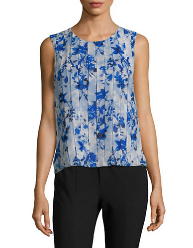 Calvin Klein Floral-Print Pleated Sleeveless Top-BLUE-Medium 89905394_BLUE_Medium