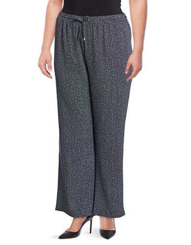 Calvin Klein Plus Tweed Wide Leg Pants-BLACK-1X