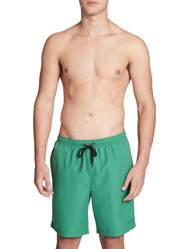 Calvin Klein Essential Solid Swim Trunks-GREEN-Large