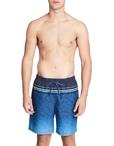Calvin Klein Essential Heathered Stripe Swim Trunks-BLUE-X-Large
