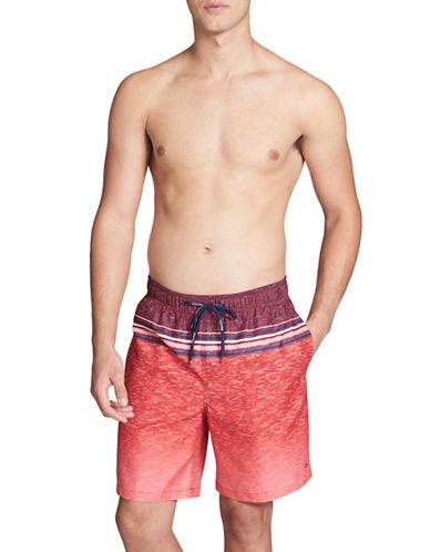 Calvin Klein Essential Heathered Stripe Swim Trunks-RED-Medium