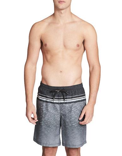 Calvin Klein Essential Heathered Stripe Swim Trunks-BLACK-Medium