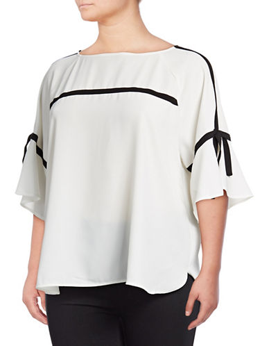 Calvin Klein Plus Tie Sleeve Blouse-WHITE-0X