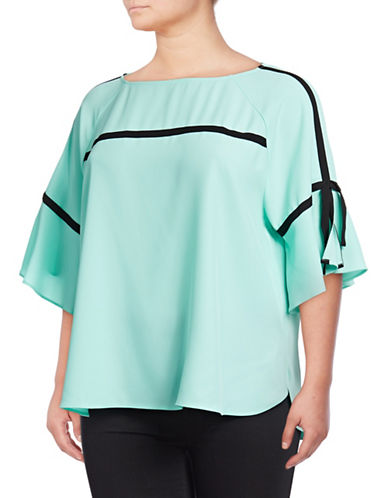 Calvin Klein Plus Tie Sleeve Blouse-GREEN-2X