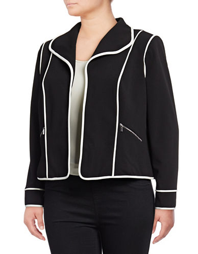 Calvin Klein Plus Contrast Piping Jacket-BLACK-20W