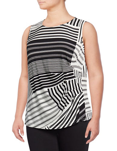 Calvin Klein Plus Plus Sleeveless Striped Top-WHITE/BLACK-3X