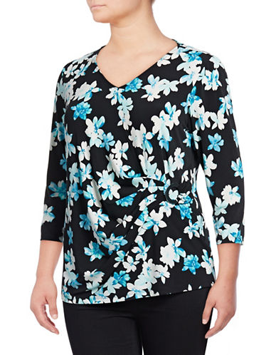 Calvin Klein Plus Floral Three Quarter Sleeve Top-GREEN-3X