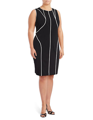 Calvin Klein Plus Piped Crepe Sheath Dress-BLACK-16W