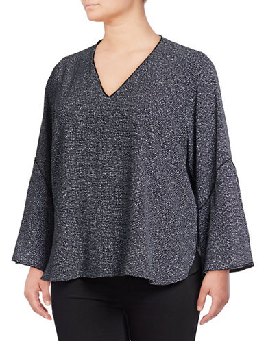 Calvin Klein Plus Tweed Flare Sleeve Top-BLACK-0X